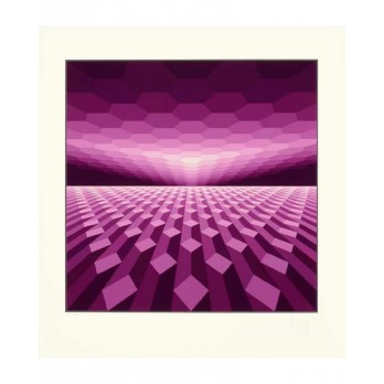 Sérigraphie - Yvaral - Horizon Structure violet