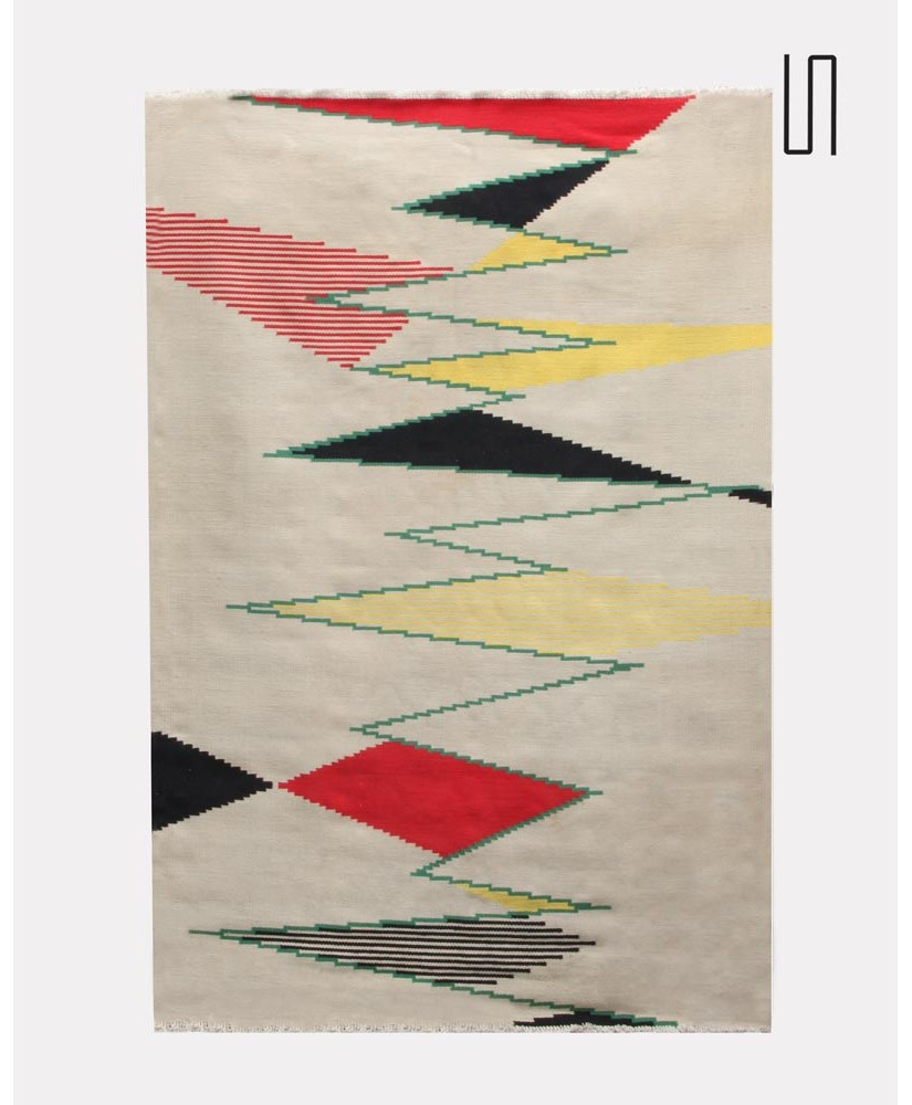 Big Czech modernist carpet by Antonin Kybal, 1950s
