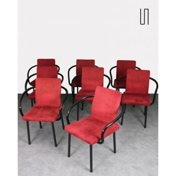 Set of 8 chairs, Mandarin model, by Ettore Sottsass, Italian vintage design