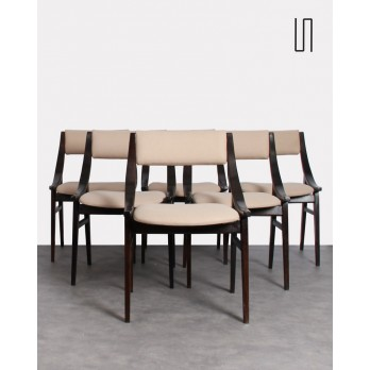 Suite de 6 chaises polonaises par Juliusz Kędziorek,  Mobilier vintage design
