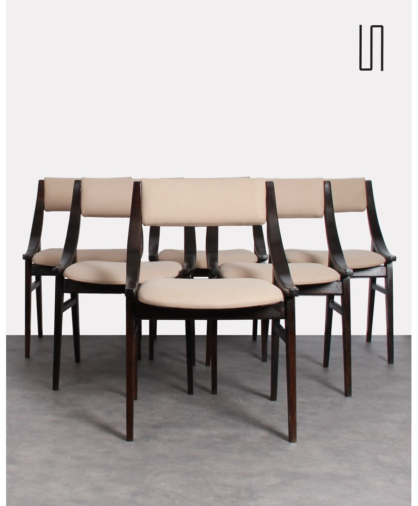 Set of 6 Polish chairs by Juliusz Kedziorek, vintage design furniture