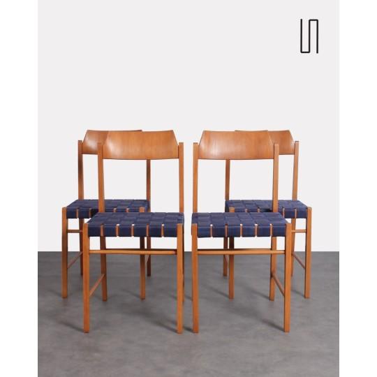 Suite de 4 chaises polonaises, Irena Zmudzinska, meuble design vintage