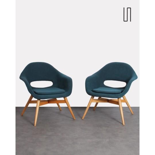 Paire de fauteuils par Miroslav Navratil, Europe de l'Est, 1960, mobilier vintage design