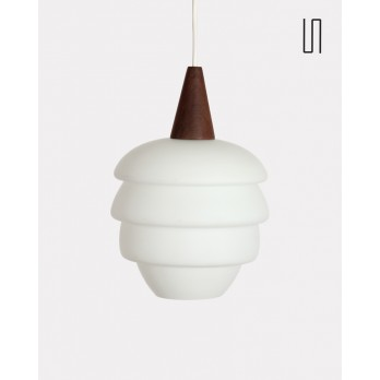 Suspension scandinave vintage en teck, 1960, Luminaire design vintage