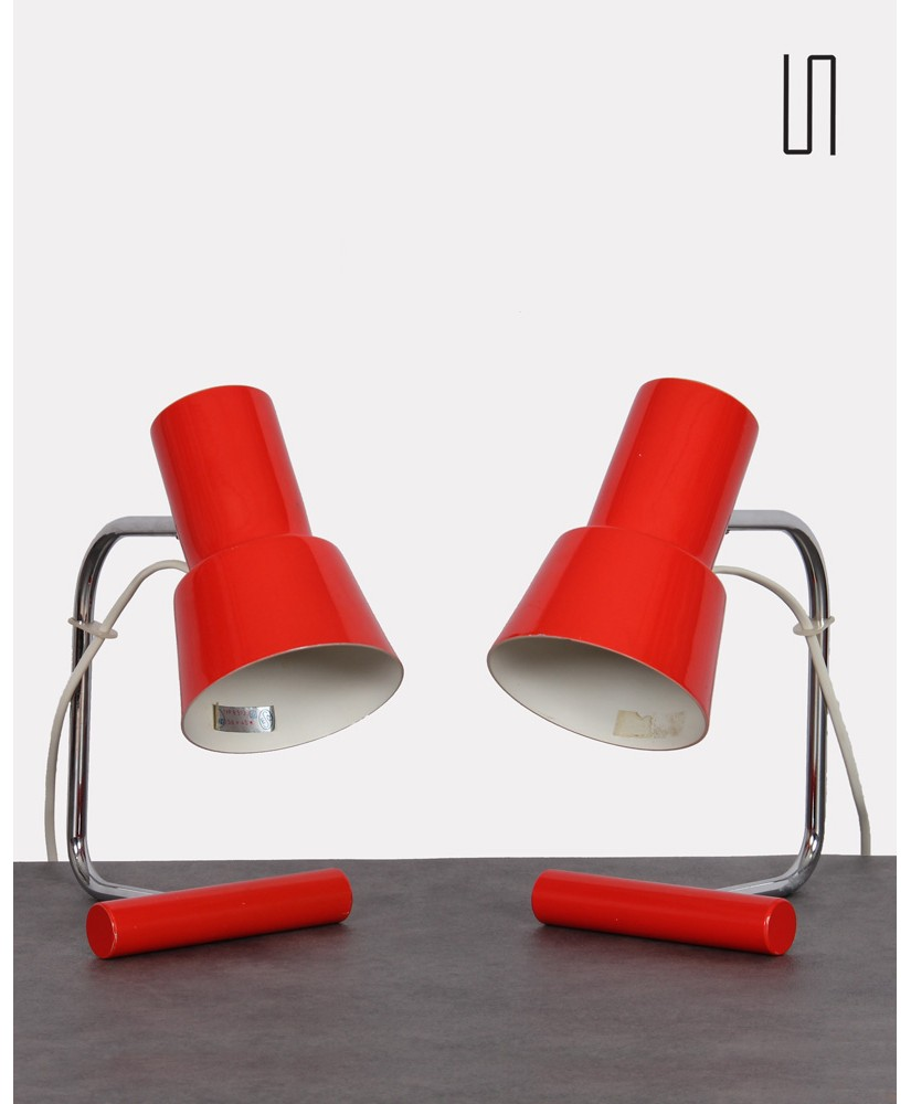 Pair of Czech lamps by Josef Hurka for Napako, soviet furniture