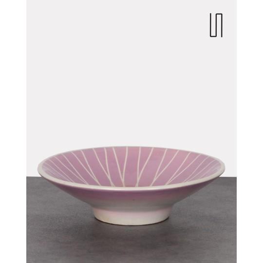 Coupe en céramique rose à motifs géométriques, 1960