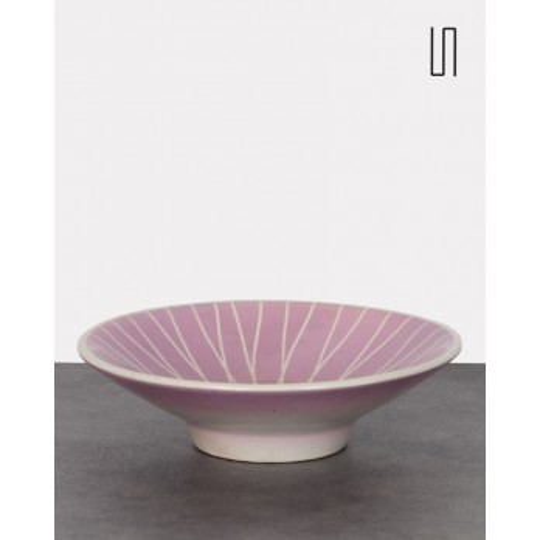 Pink ceramic bowl with geometric patterns, 1960