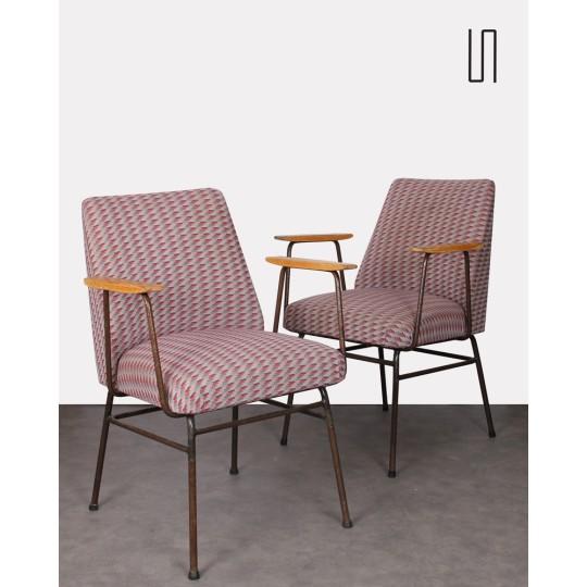 Paire de fauteuils en métal, design polonais vintage, 1960