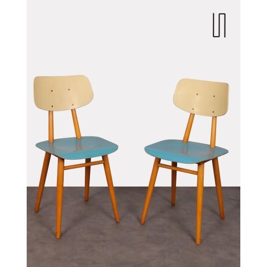 Paire de chaises pour Ton, design tchèque, 1960