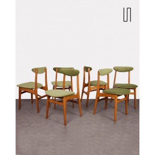 Suite de 6 chaises dessinées par Rajmund Halas, 1960, Design Europe de l'Est