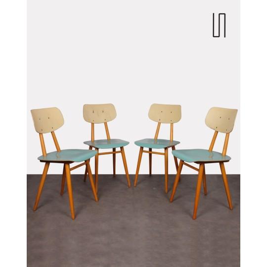 Suite de 4 chaises des pays de l'Est pour Ton, 1960
