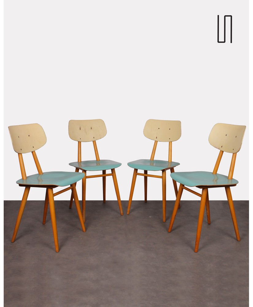 Set of 4 chairs from Eastern Europe for Ton, 1960s