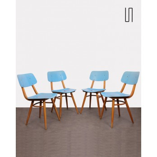 Suite de 4 chaises vintage éditée par Ton, 1970