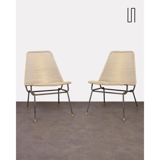 Paire de fauteuils tchèques en scoubidou, 1960