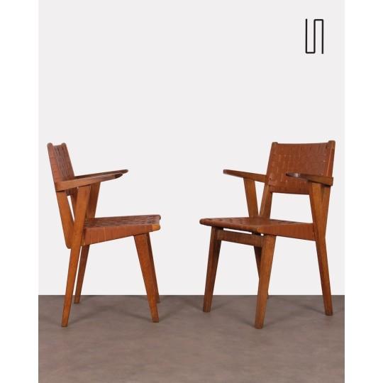 Paire de fauteuils bridge vintage par Jens Risom, 1940