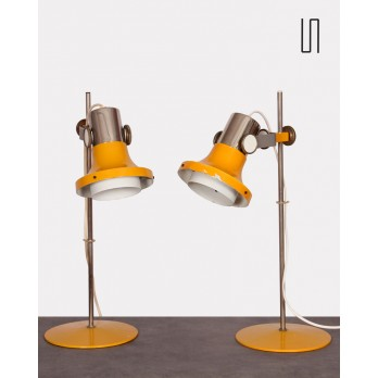 Pair of Czech lamps by Pavel Grus for Kamenický Šenov