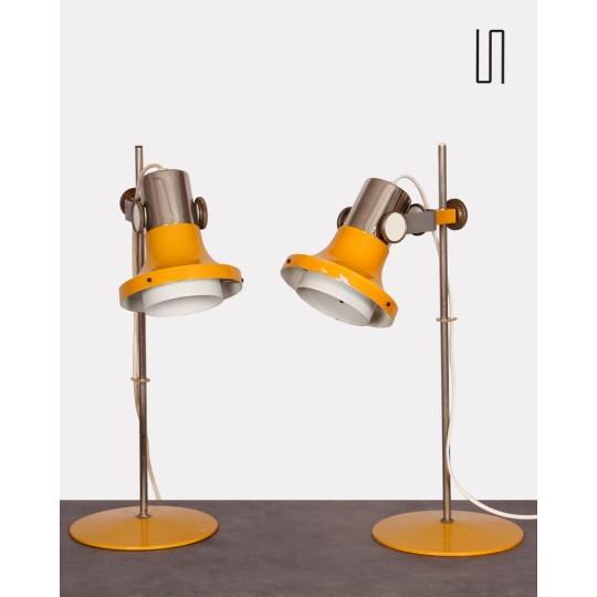 Pair of Czech lamps by Pavel Grus for Kamenický Šenov