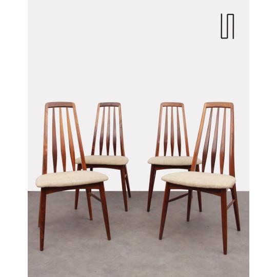 Suite de 4 chaises scandinaves en palissandre par Niels Koefoed