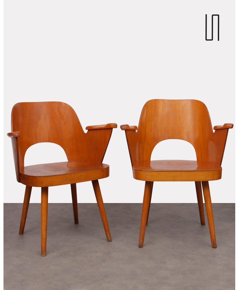 Pair of armchairs by Oswald Haerdlt for Ton, 1960s