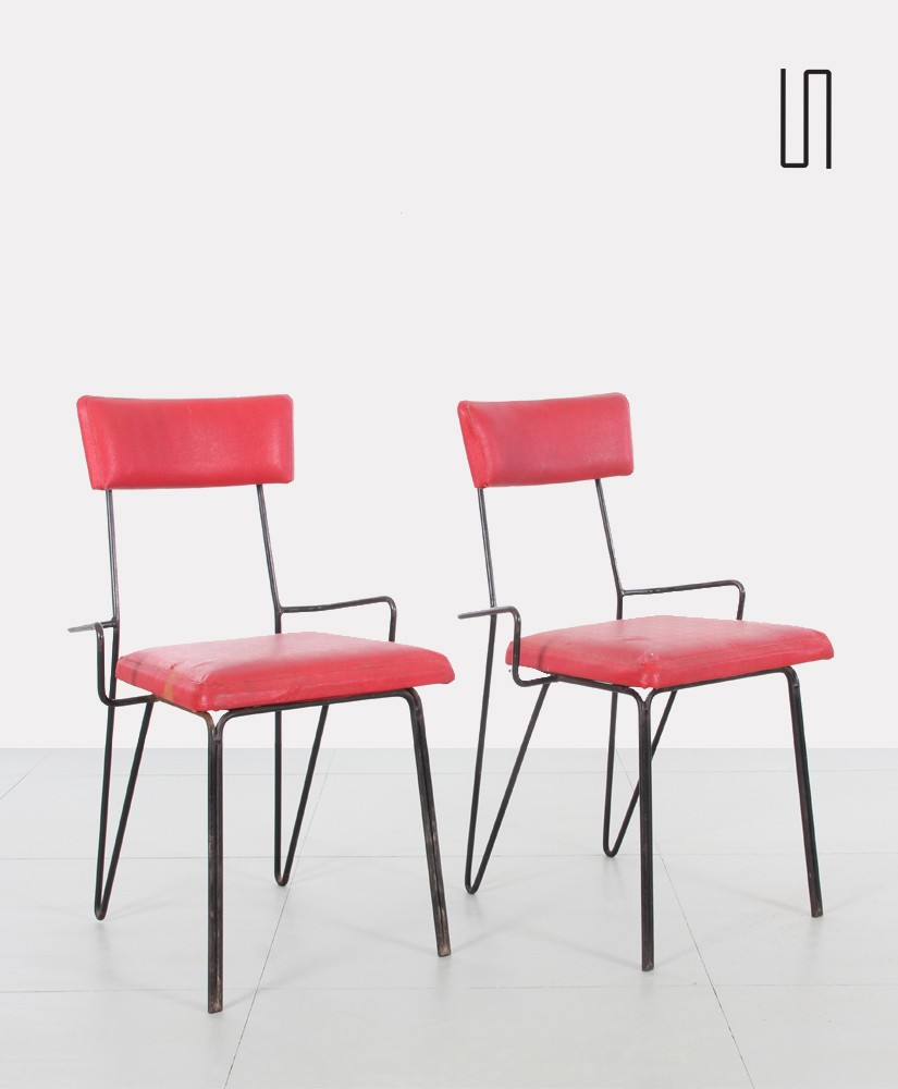 Pair Of Polish Vintage Red Metal Chairs, Soviet Design From Eastern  Countries