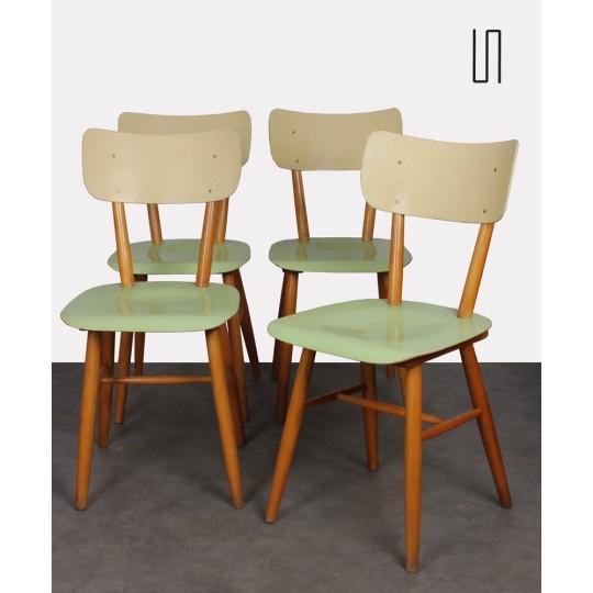 Suite de 4 chaises vintage éditée par Ton, 1960