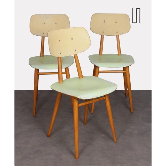 Suite de 3 chaises vintage pour Ton, 1960