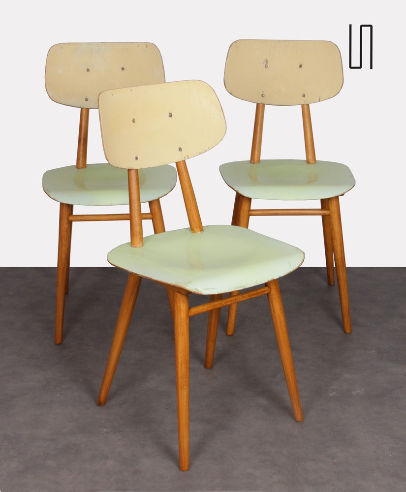 Set of 3 vintage chairs for Ton, 1960s