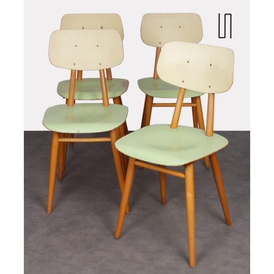 Suite de 4 chaises pour Ton, design tchèque, 1960