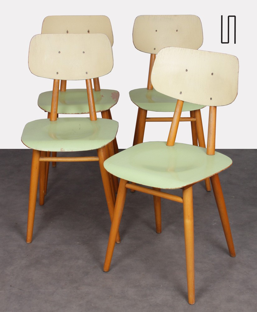 Set of 4 chairs for Ton, Czech design, 1960s