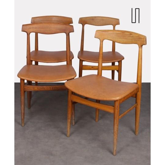 Suite de 4 chaises vintage en bois, 1960