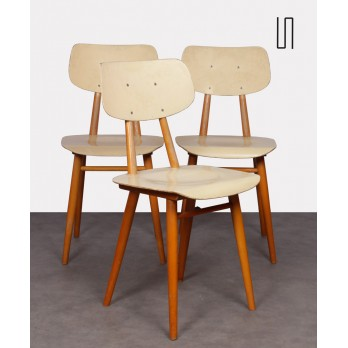 Set of 3 vintage chairs for Ton, Czech design, 1960s