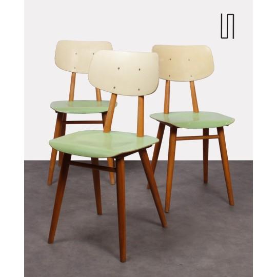 Ensemble de 3 chaises éditées par Ton, Europe de l'Est, 1960