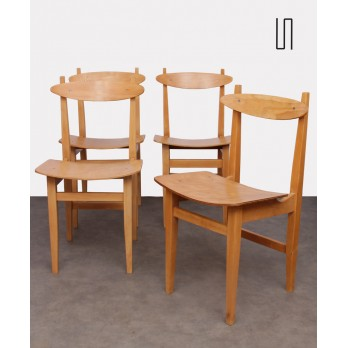 Set of 4 Polish chairs by Maria Chomentowska, Soviet design
