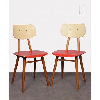 Pair of red chairs for the manufacturer Ton, 1960s