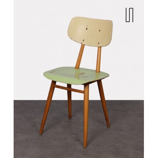 Chaise vintage en bois peint pour l'éditeur tchèque Ton, 1960