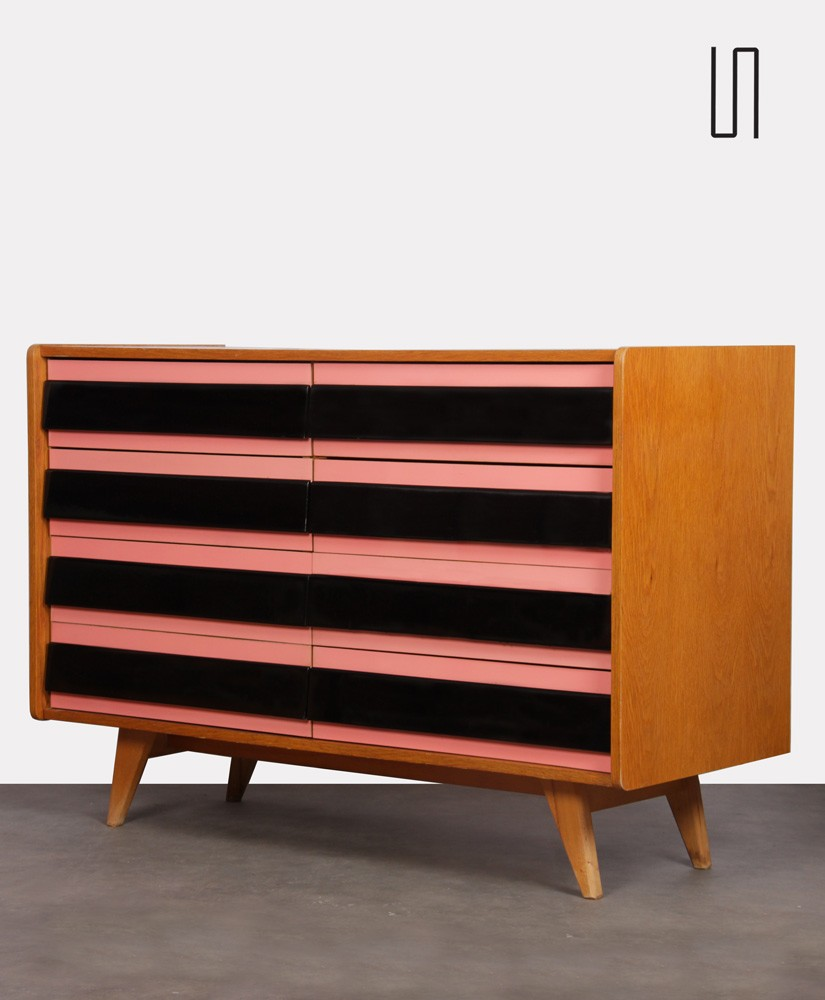 Pink and black chest of drawers by Jiri Jiroutek, 1960