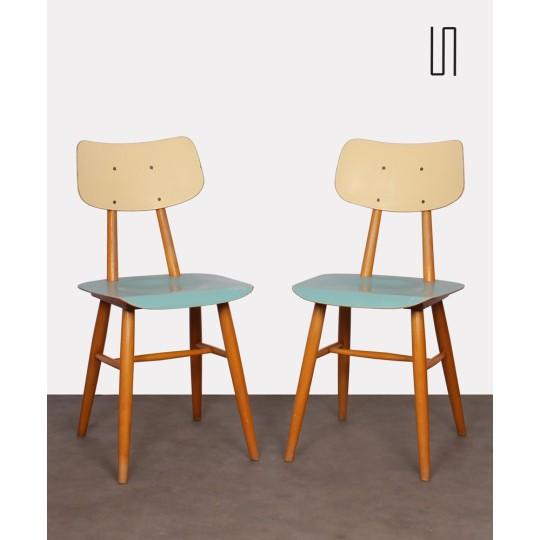 Paire de chaises bleues pour le fabricant Ton, 1960