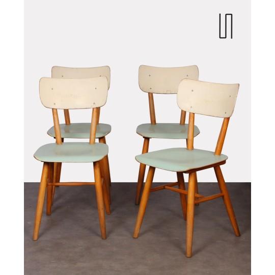 Ensemble de 4 chaises vintage produite par Ton, 1960