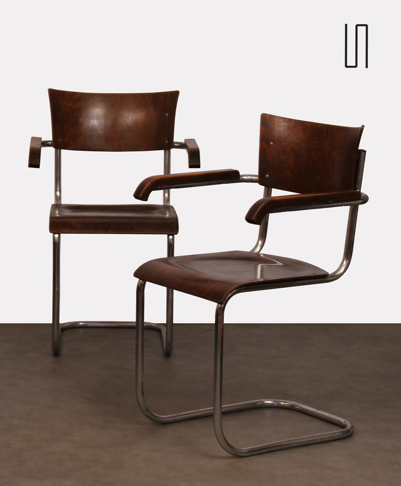 Pair of armchairs by Mart Stam, Czech production, 1940s