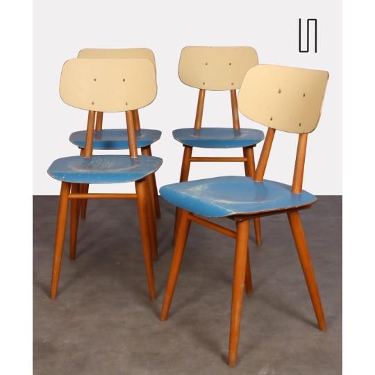 Série de 4 chaises bleues vintage, éditées par Ton, 1960