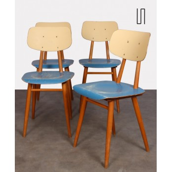 Series of 4 vintage blue chairs, edited by Ton, 1960s