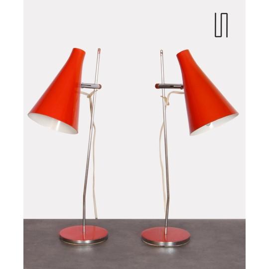 Paire de lampes par Josef Hurka pour l'éditeur Lidokov, 1960