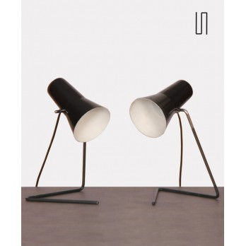 Pair of vintage lamps by Josef Hurka for Drupol, 1960s