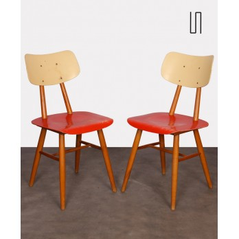 Pair of vintage red chairs, Czech design, 1960s