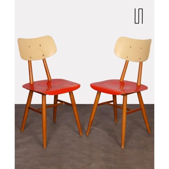 Paire de chaises rouges vintage, design tchèque, 1960