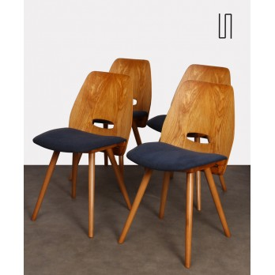 Suite de 4 chaises par Frantisek Jirak pour Tatra Nabytok, 1960
