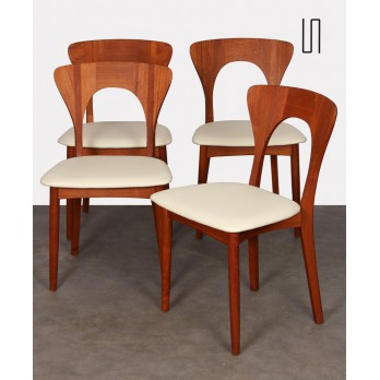 Suite of 4 Scandinavian teak chairs by Niels Koefoed, 1958
