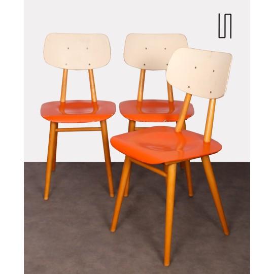 Ensemble de 3 chaises fabriquées par Ton, 1960