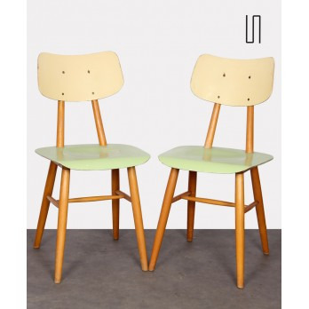 Pair of vintage green chairs, Czech design, 1960s