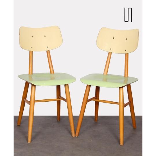 Paire de chaises vertes vintage, design tchèque, 1960